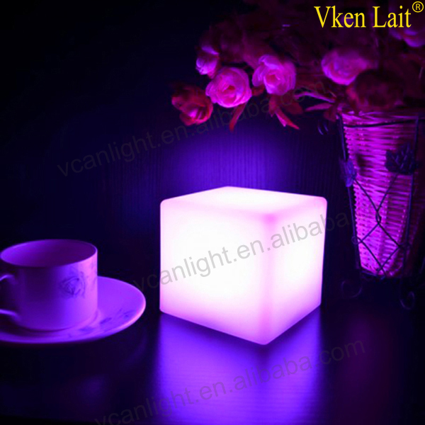8PCS/lot  10*10cm Most cheapest price rechargeable colors change plastic led mood night light on the table VC-A100