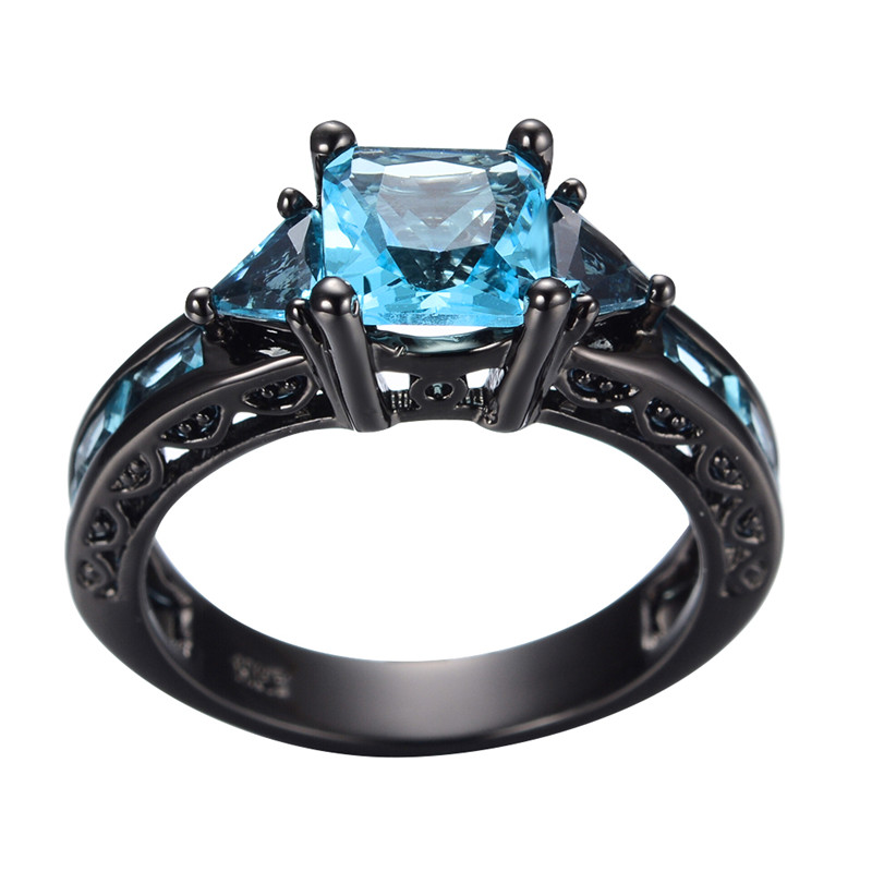 size 6 10 classical jewelry princess cut light blue wedding ring 10kt black gold filled cz women vintage engagement rings in rings from jewelry - Black And Blue Wedding Rings