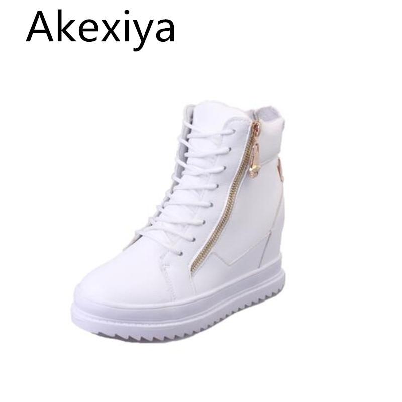Akexiya High Top Mujer Plataforma Zapatos Casuales Grandotes Ocultos Aumentar Za