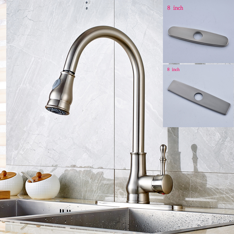 Kitchen Sink Faucet Pull Out Faucet Mixer Valve Single: Nickel Brushed Single Handle Kitchen Sink Faucet Pull Out