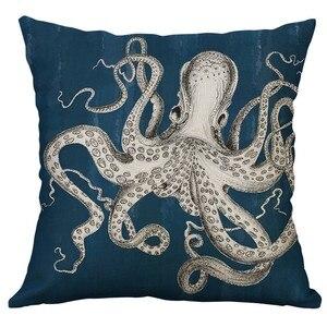 Image 4 - Marine Leben Korallen Meer Schildkröte Seepferdchen Whale Octopus Taille Kissen Abdeckung Kissen Werfen Kissen Hause Decor 40x40 cm