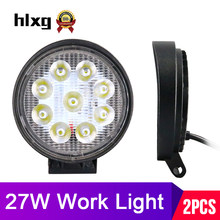 hlxg 2piece Mini 27W Spot Light Beam led light bar work auto for truck fog lamps 4x4 off road atv motorcycles car accessories 08(China)