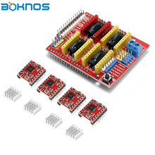 CNC Shield Expansion Board + 4pcs Stepper Motor Driver with Heat Sink for Arduino UNO R3 V3 Engrave 3D printer Diy Kit цена