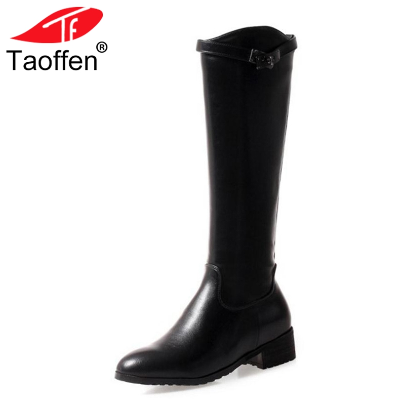 TAOFFEN Women Knee High Boots Warm Fur Shoes Woman Zipper Buckle Shoes Winter High Heels Boots Fashion Long Boots Size 32-43 стоимость