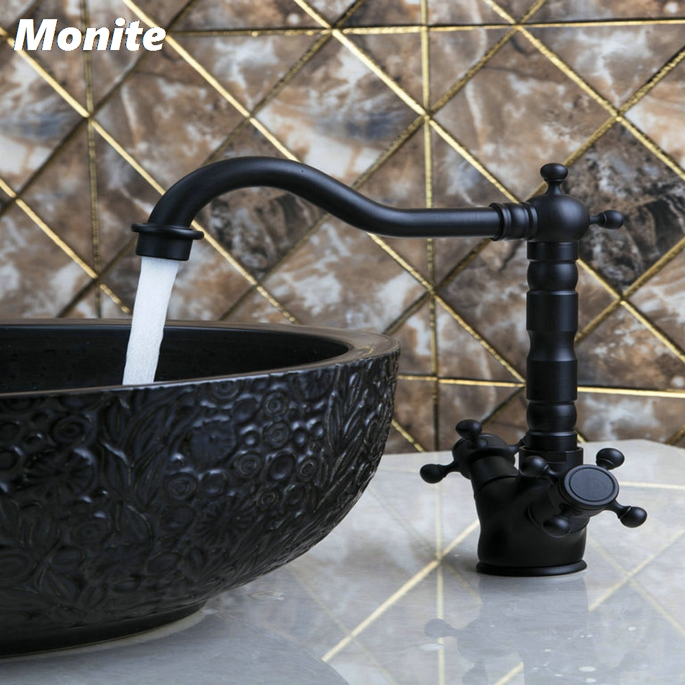 Oil Rubbed Bronze Hot/Cold Double Handles Deck Mount Swivel 360 Spray Brass Water Sink Kitchen Torneira Cozinha Tap Mixer Faucet hpb brass morden kitchen faucet mixer tap bathroom sink faucet deck mounted hot and cold faucet torneira de cozinha hp4008