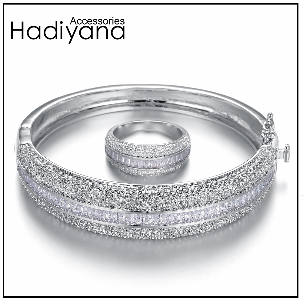 HADIYANA Sparkling Big Bangle With Shining Cubic Zircon Women 2pcs Bangle & Ring Sets As Gift For Special Her SZ028-in Jewelry Sets from Jewelry & Accessories    1