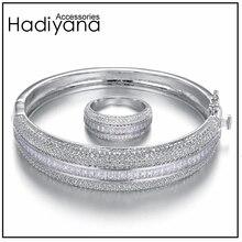 Женский сверкающий Большой браслет HADIYANA, сияющий кубический цирконий, комплект из 2 предметов, браслет и кольцо в подарок для специальной женщины, SZ028
