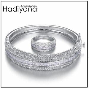 Image 1 - Женский сверкающий Большой браслет HADIYANA, сияющий кубический цирконий, комплект из 2 предметов, браслет и кольцо в подарок для специальной женщины, SZ028