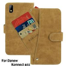 Vintage Leather Wallet Danew Konnect 402 5 Case Flip Luxury Card Slots Cover Magnet Stand Phone Protective Bags vintage leather wallet echo dune 5 case flip luxury card slots cover magnet stand phone protective bags
