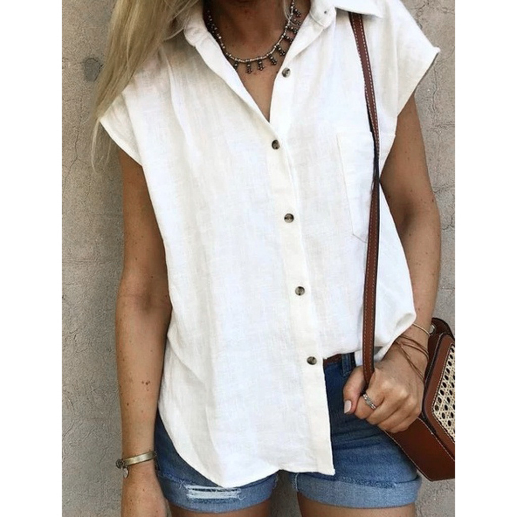 2019 Women's Solid  Botton Cotton Blouses Short Sleeve Ladies White Office Shirts Plus Size  Fashion Blusas Mujer Shirts Female