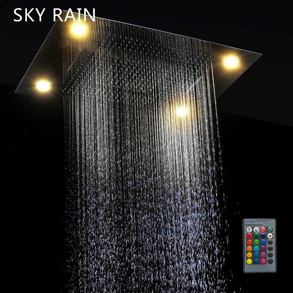 KEMAIDI Good Quality Rainfall Square Shower Head Bathroom Shower Set Wall Mounted Basin Overhead LED Light New Chrome Finished - 2