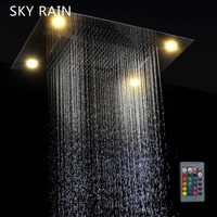 SKY RAIN Concealed Ceiling Mounted Large Size Multi Function Rainfall Waterfall Spray Mist LED Shower Head Set