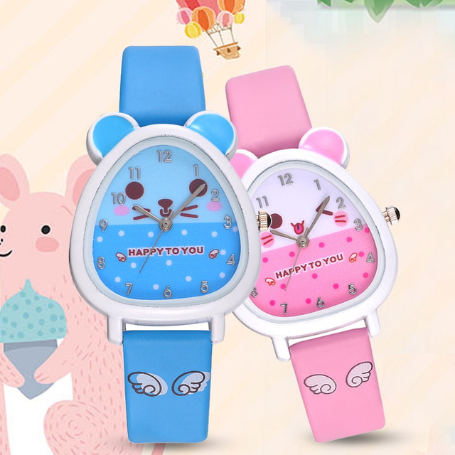 Hamster Shaped Dial Quartz Wrist Watch with PU Leather Strap Cute Cartoon Watche