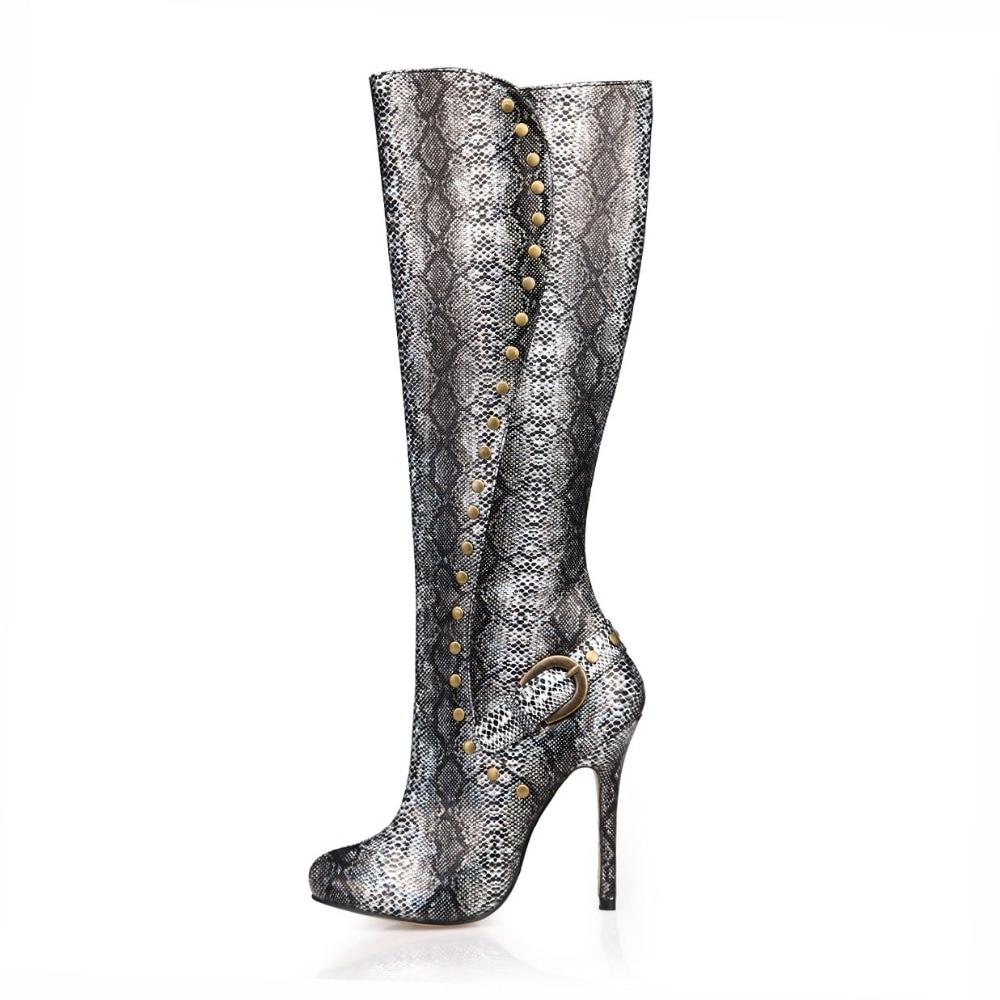 2018 sexy genou bottes hautes femmes rivets punk chaussures automne bottes longues dames robe de soirée talons hauts pompes hiver chaussures serpent botte