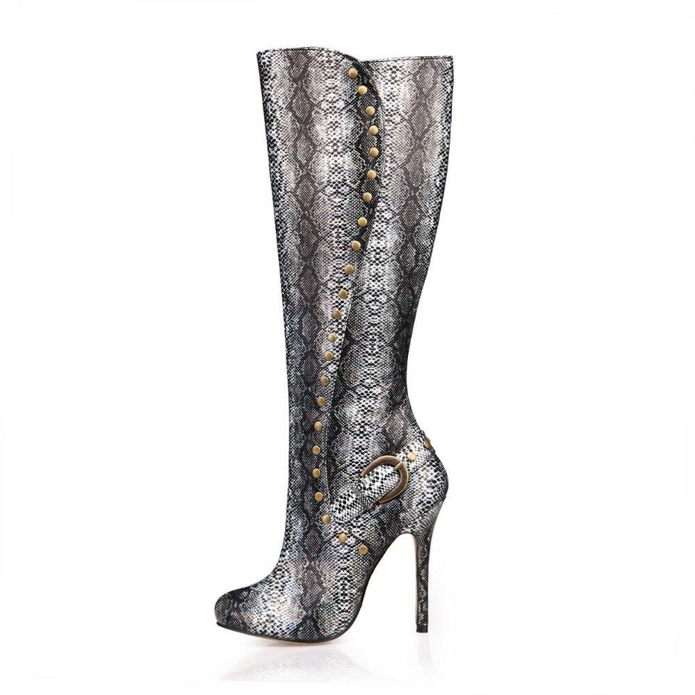2018 sexy knee high boots women rivets punk shoes autumn long boots ladies party dress high heels pumps winter shoes snake boot недорго, оригинальная цена