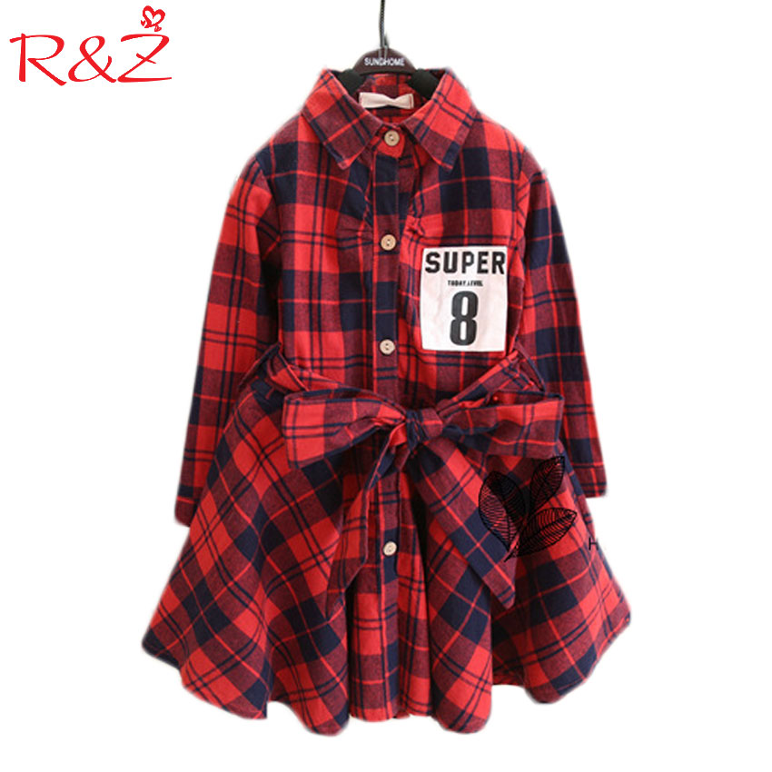 Super 8 Print Children Clothing Child Clothes Cotton Long Sleeve Baby Girl Dress Kids Girls Princess Plaid Dresses free shipping