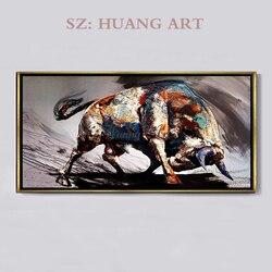 Ручная роспись масляных картин современного минимализма черный и белый бык крупного рогатого скота Фортуна гостиной зала прохода фоновая ...