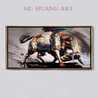 Hand-painted oil paintings of modern minimalist black and white bull cattle fortune living room hall aisle background picture