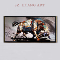 Hand painted oil paintings of modern minimalist black and white bull cattle fortune living room hall aisle background picture