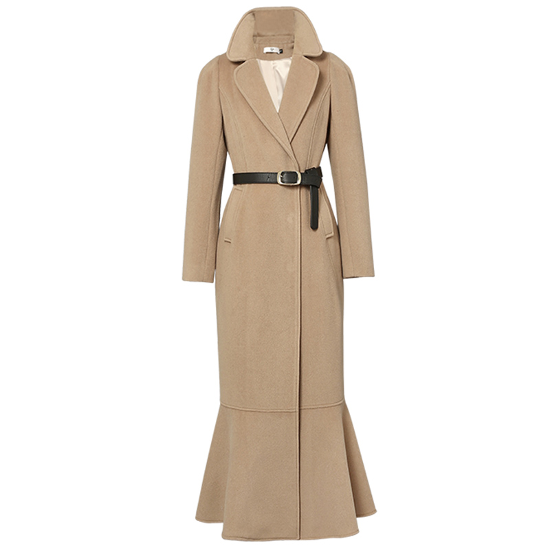 Grande taille 2XL Vintage Femmes Long manteau en laine D'hiver Nouvelle slim Mode Sirène laine mélanges manteau