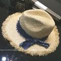 Verão Casual de Alta Qualidade Grama de Ráfia de Palha Praia chapéu de Sol Chapéu de Aba Larga Fedoras das Mulheres Chapeu ELDS-015