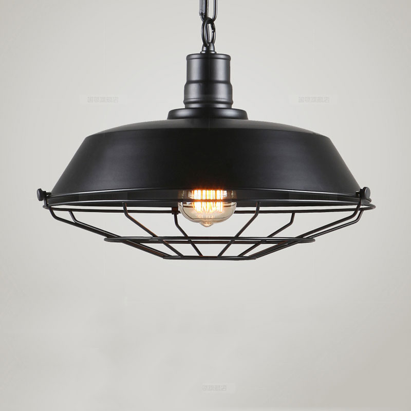 Sótão do vintage lâmpada pingente armazém droplight sala de jantar bar corredor pub restaurante café lâmpada gaiola ferro pendurado lustre