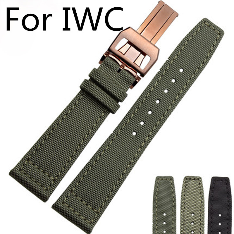 20MM 21MM 22MM Black Army Green Nylon Canvas Watch Strap With Butterfly Development Folding Buckle For IW C Watch With LOGO цена и фото