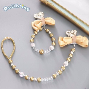 Dollbling Custom Crystal Diamond Baby Pacifier Clip Chain Princess Girls Handmade Sparkling Teether Nipple Pacifier Clip Chain