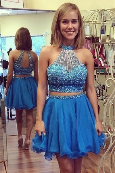 New Fashion Halter Neck Two Piece Homecoming Dress 2017 with Beaded Sleeveless Off The Shoulder Short Prom Dresses Custom-made