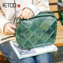 AETOO Handmade female bag retro geometric stitching handbag Baotou layer cowhide large capacity oblique span