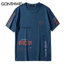 GONTHWID Soda рваные футболки с принтом, уличная одежда, хип-хоп, Китайский Персонаж, повседневные футболки с коротким рукавом, мужские футболки