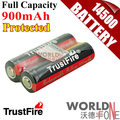 TrustFire Genuine Full Capacity 900mAh 14500 3.7V Li-ion Rechargeable Battery with Protected PCB 2PCS/Lot