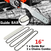 16 Inch Chain Saw Guide Bar with 3pcs Chains for STIHL 009 012 021 E180 MS180 MS190 MS250