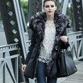 2016 Зима Роскошный Silver Fox Меховой Пальто Европа Стиль Высокое Качество женщины Зимняя Куртка Пальто S-2XL Большой Размер Пуховик Для Женщин