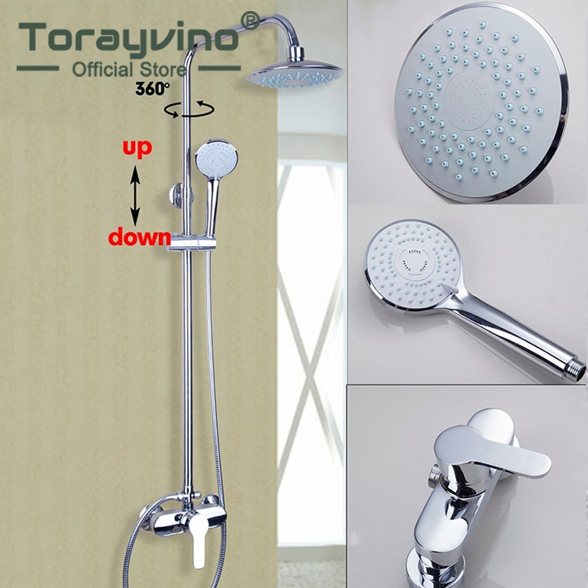 Torayvino Luxury Chrome Polished Rain Waterfall Shower Set Faucet Wall Mounted With Slide Bar Hot&Cold Mixer Tap torayvino polished chrome water tap bathroom faucet wall mounted shower set