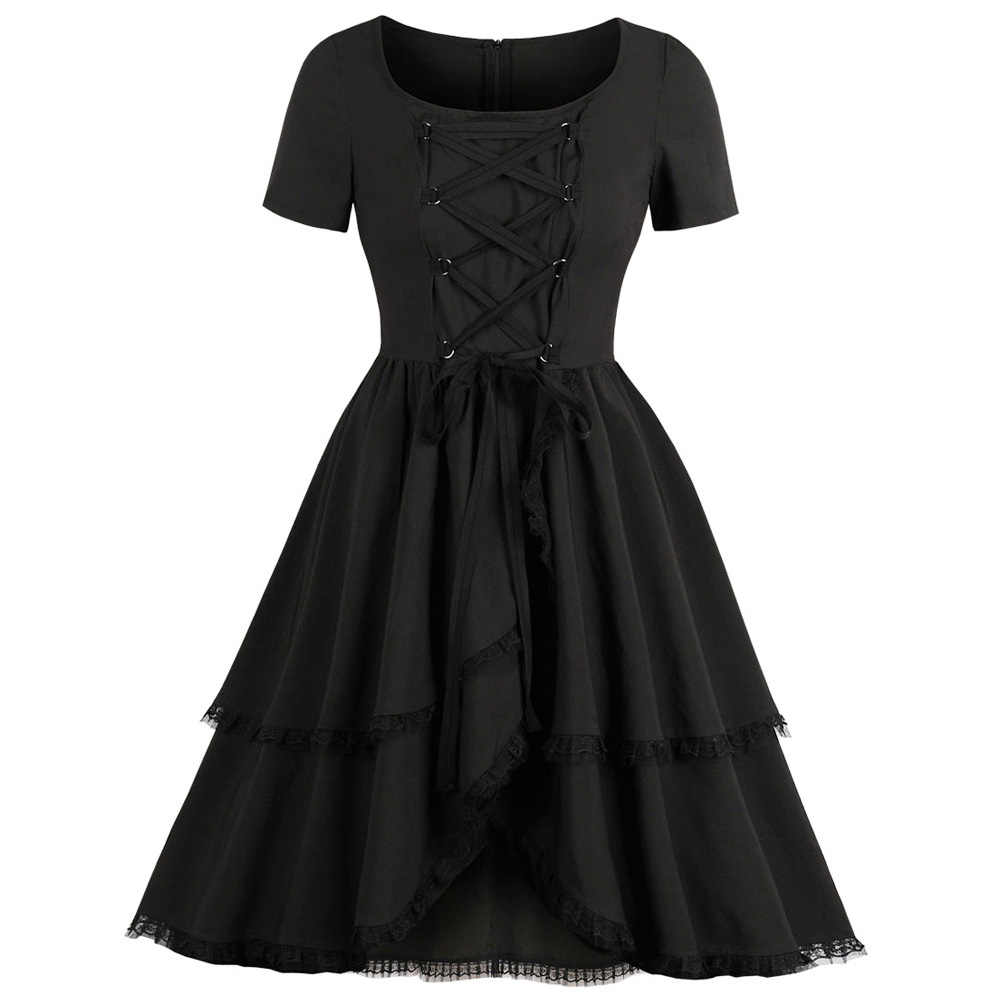 Wipalo Black Vintage Dress Women Lace Up Round Neck Short Sleeve Solid Pin  Up Dress A e26e61ca0b25