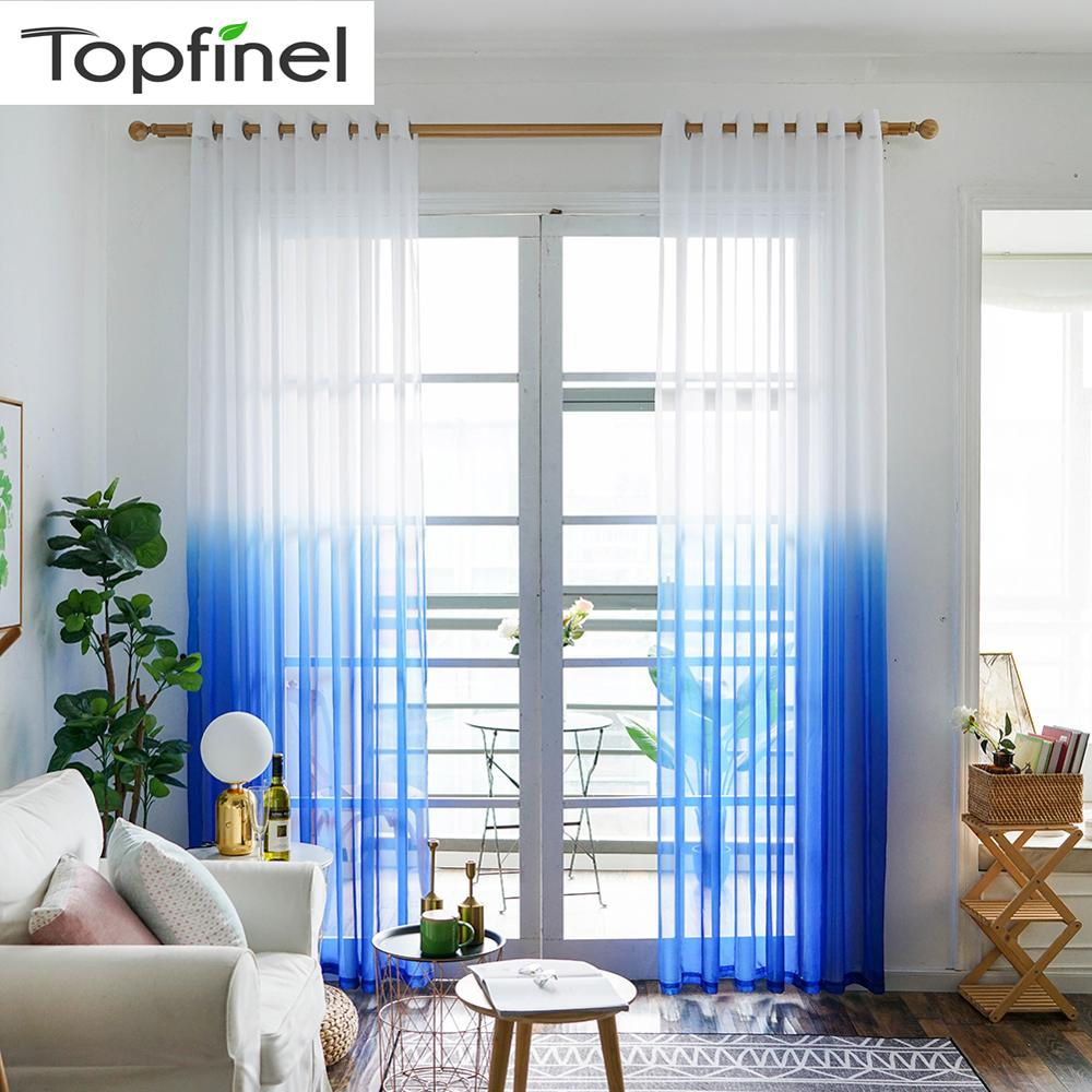 Topfinel Gray Semi Gradient Color Voile Sheer Curtains For Living Room Bedroom Kitchen Tulle On Windows Screening Home Decor