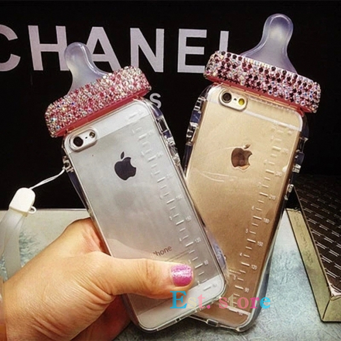 huge discount 2cceb e7e64 US $8.99  2015 new arrival Cute Baby bottle Nipple Milk case for iphone 5  5s 6 6 plus 4.7 5.5 TPU cover Lanyard bling diamond luxury on  Aliexpress.com ...