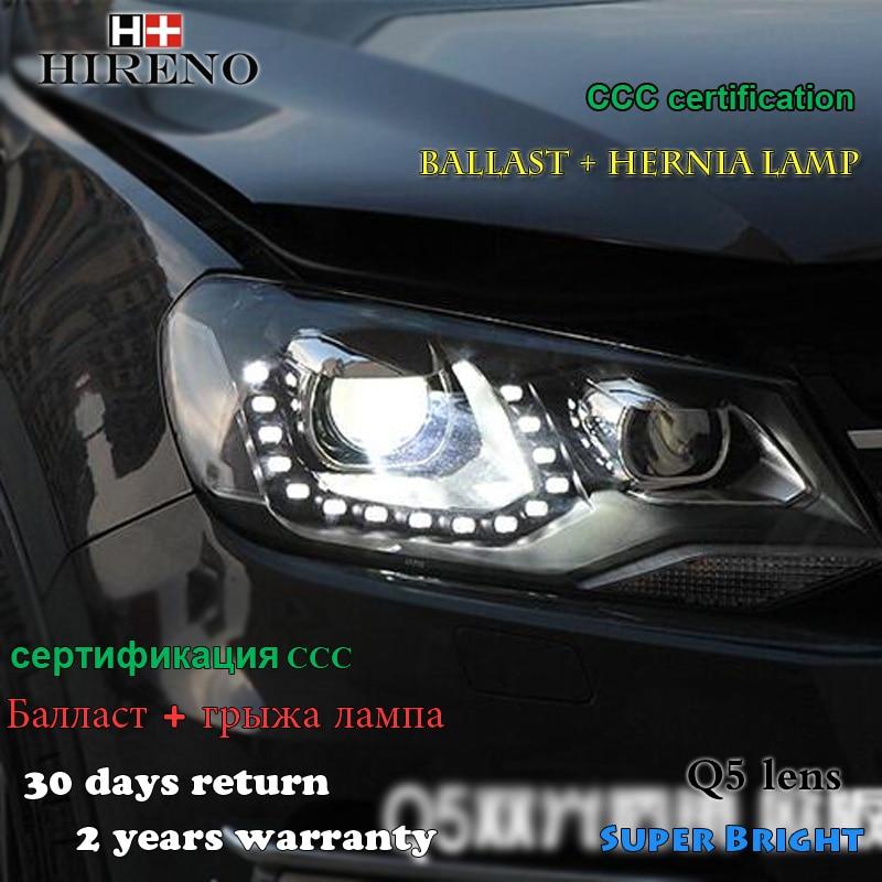 Hireno Headlamp for 2011-2015 Volkswagen Touareg Headlight Assembly LED DRL Angel Lens Double Beam HID Xenon 2pcs hireno headlamp for 2010 2012 kia sorento headlight assembly led drl angel lens double beam hid xenon 2pcs