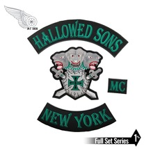 HALLOWED SONS NEW YORK PATCH motorcycle custom embroidery iron on biker patch for jacket vest free shipping new arrival mc aces eights jersey embroidery patch motorcycle club vest outlaw biker jacket iron on patch free shipping