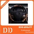 Estampa de Leopardo personalizado Capas de Volante Tampa Da Roda de Direcção Universal Serve Para 95% Carros de Ouro Estampa de Leopardo Acessórios Do Carro