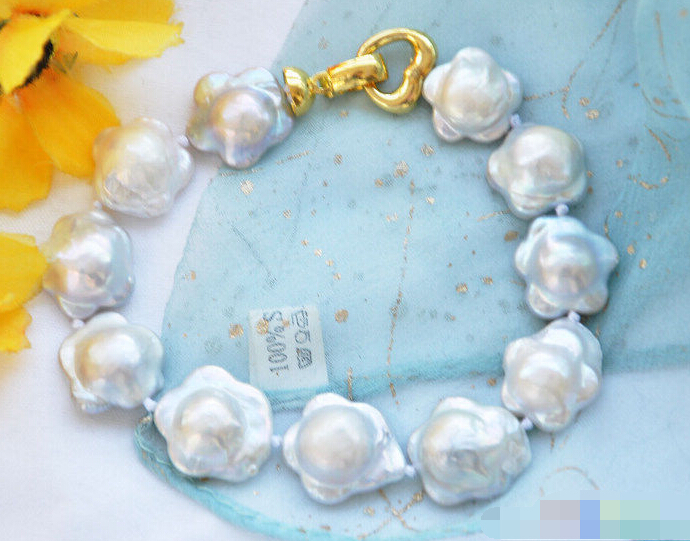 Buy FREE SHIPPING>>>@@ 0775 WHITE plum blossom coin FRESHWATER PEARL BRACELET for only 36.66 USD