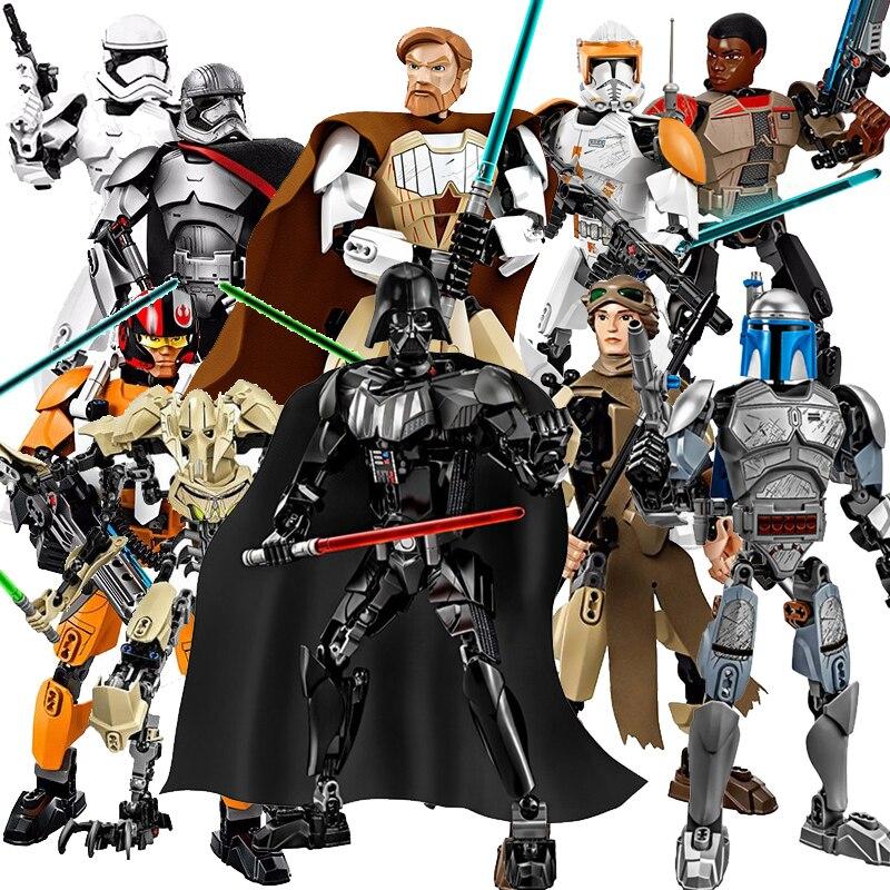 New KSZ Star Wars diy figures Darth Vader White Storm Trooper General Grievous Figure toys building blocks compatible
