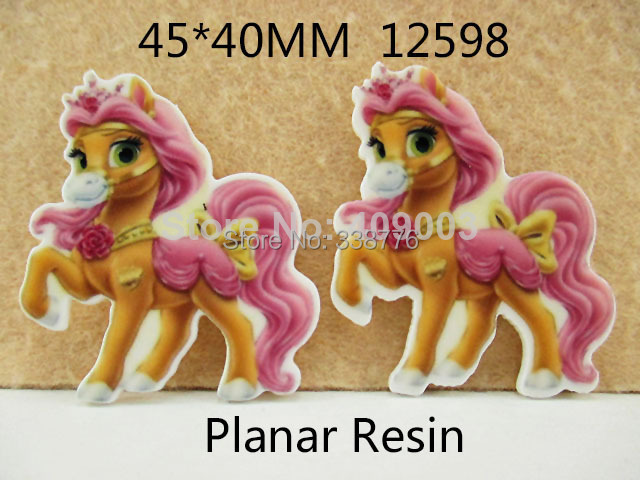 10Y12598 45*40mm cartoon horse flat back resin diy holiday decoration craft scrapbooking