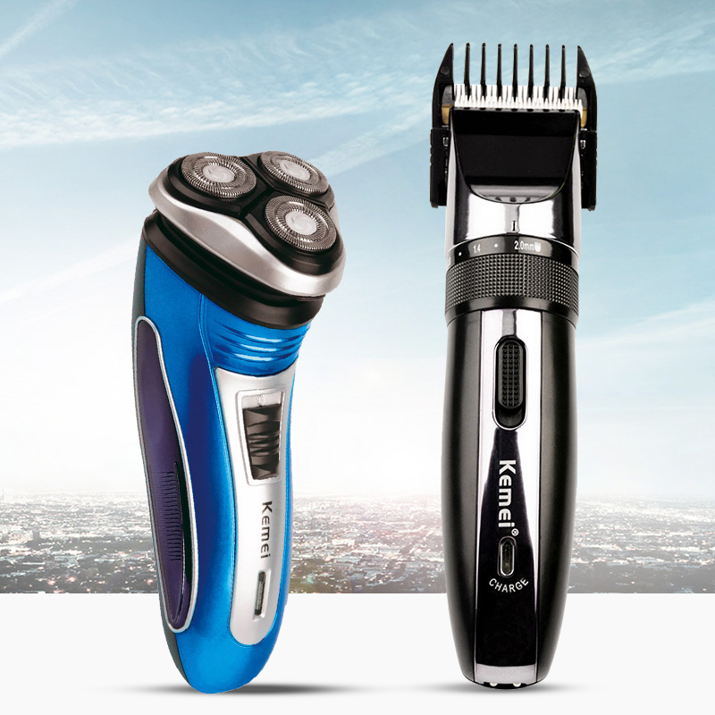 Rechargeable Electric Shaver 3D Triple Floating Blade Heads Shaving Razors+Hair Clipper Trimmer for Men Hair Cutting Machine rechargeable hair clipper with accessories set 220 240v ac