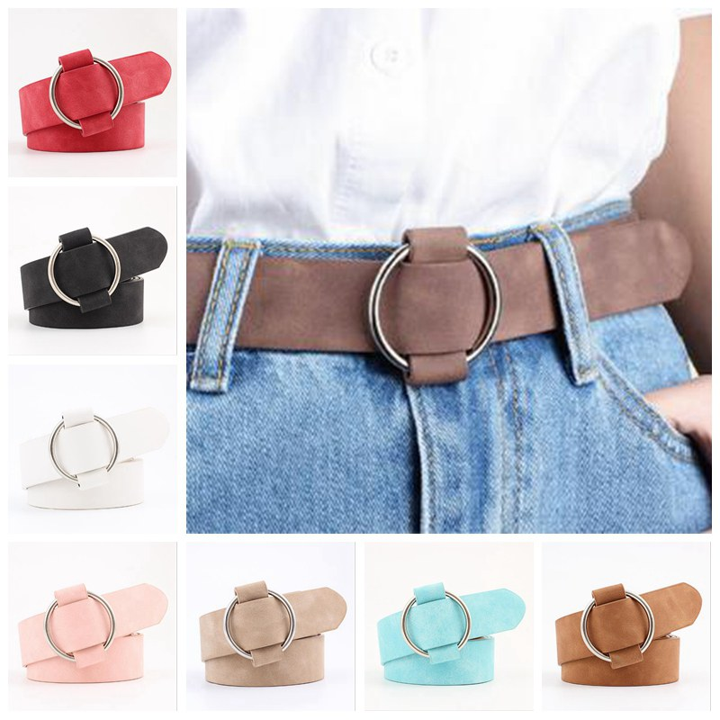1 Pcs Ladies Girls Fashion Wide Waist Belt Dress PU Leather Round Buckle Belts Casual Pure Color Waistband No Needle LTT9820