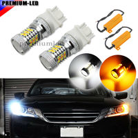 iJDM High Power White/Amber 3157 Switchback LED Bulbs For Front Turn Signal Lights, Powered By SMD LED+ Load Resistor Combo