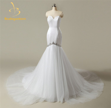 2017 New Sexy Mermaid Wedding Dresses Appliques Bridal Gowns Satin Floor-Length Robe De Mariage Wedding Gown In Stock QA843