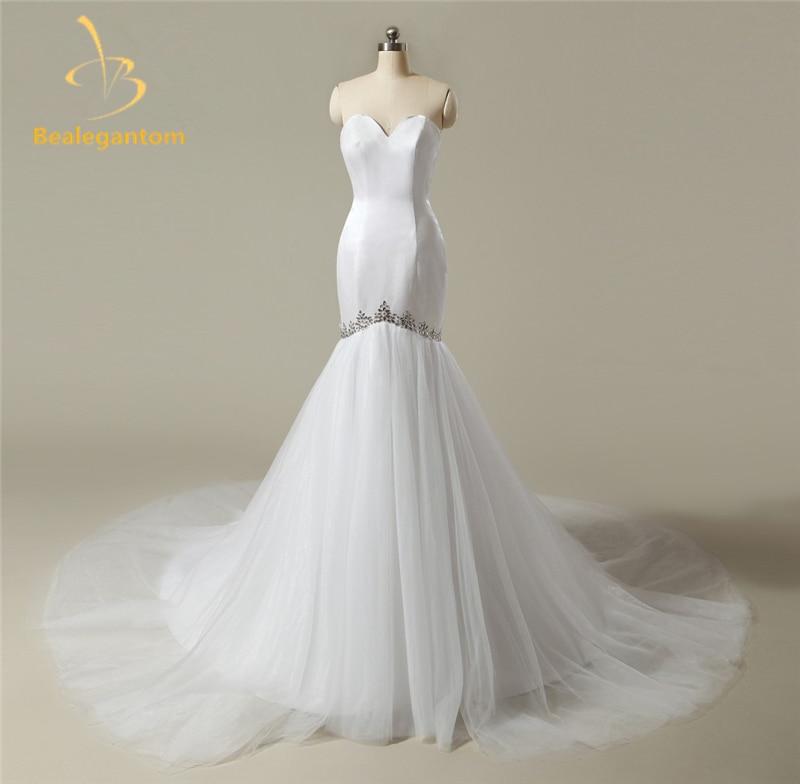 2018 nove seksi morske poročne obleke Aparati za poročne obleke satena do dolžine tal Robe De Mariage Poročne obleke na zalogi QA843