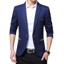 Chaqueta informal de moda para hombre, chaqueta de corte entallado con cuello con muescas, Chaqueta de traje informal de negocios de Color sólido